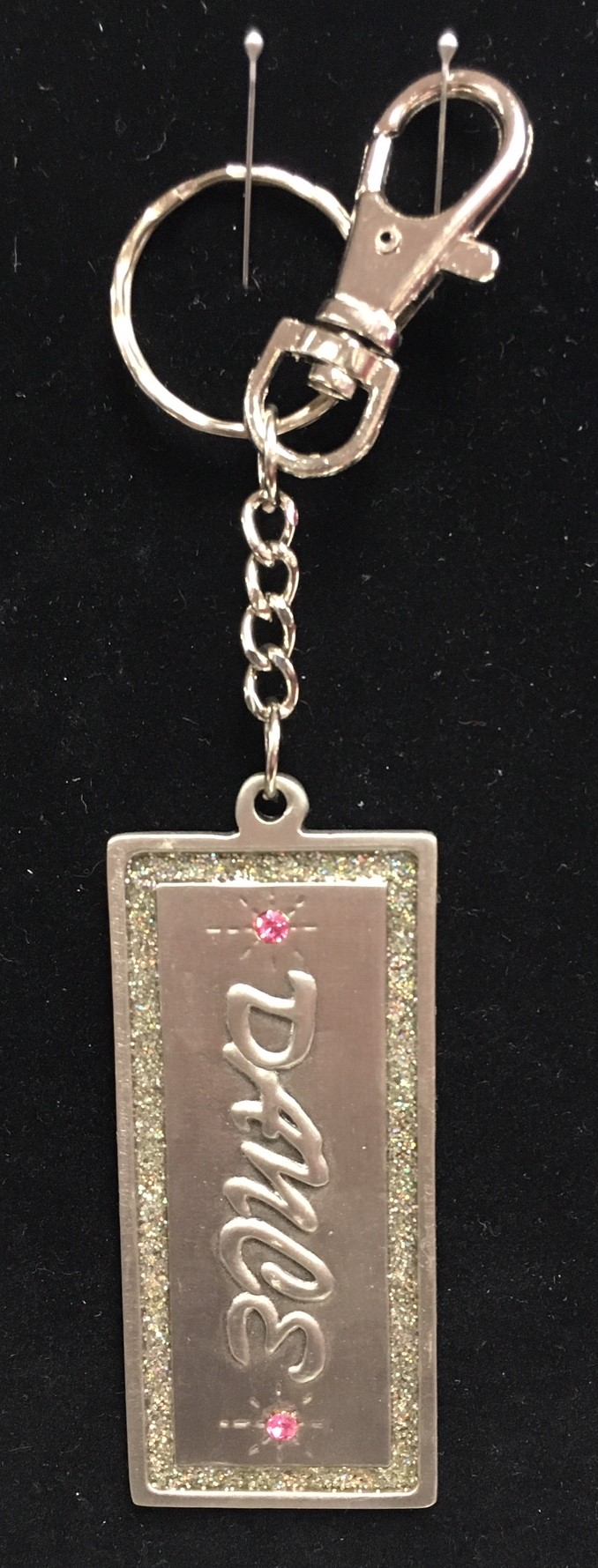 "Barry's ""Dance"" Pewter Keychain With Stones"