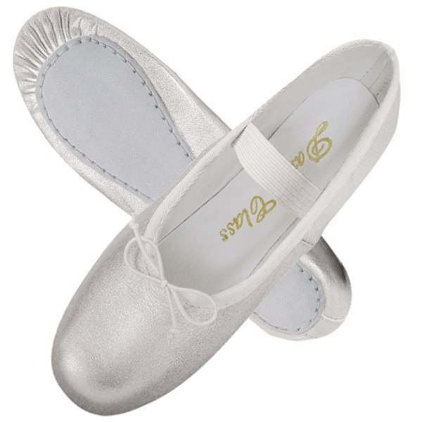 Dance Class Children's Silver Metallic Leather Upper Full Leather Sole Ballet Shoes