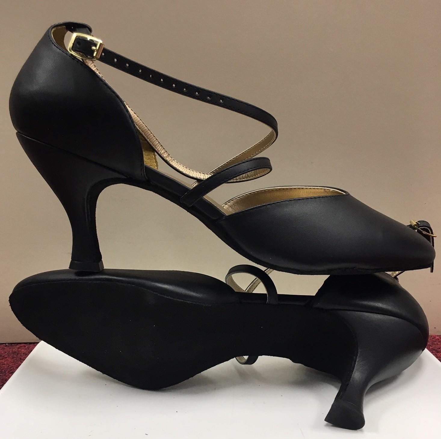 "Danshuz 2.5"" Heel X Strap Closed Toe Ballroom Shoes"