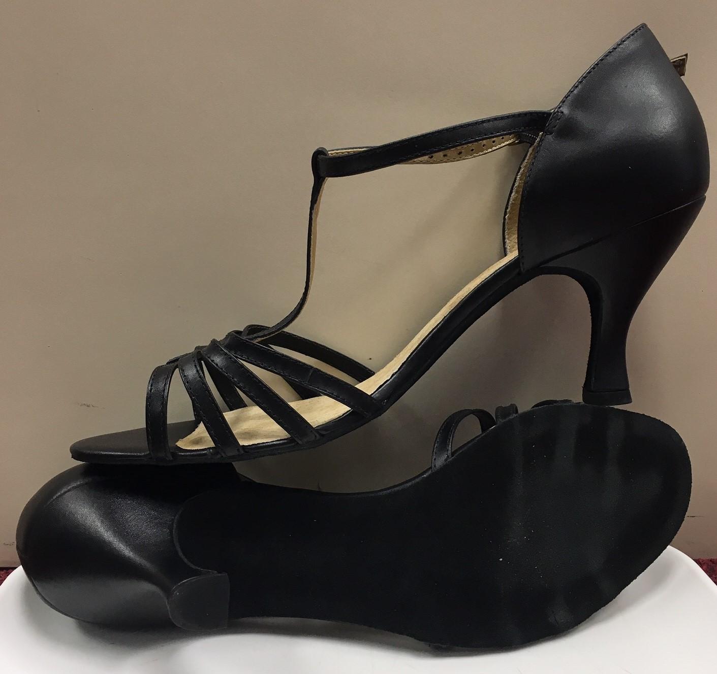 "Danshuz Women's 2.5"" Flared Heel T-Strap Leather Upper Chrome Sole Open Toe Ballroom Shoes"