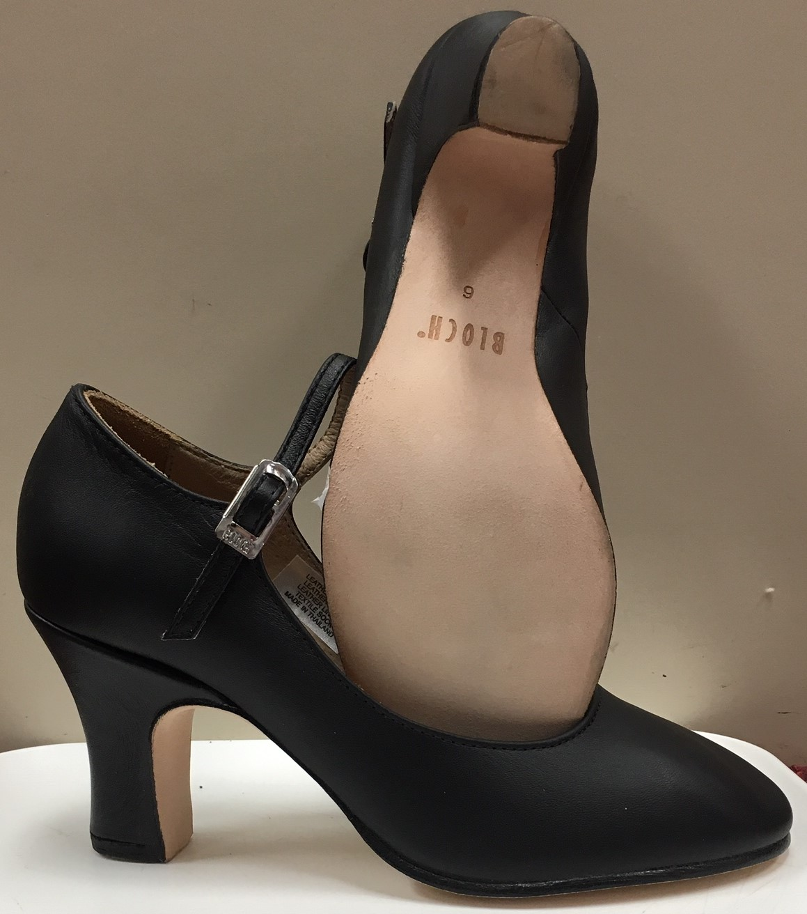 """Bloch 3"""" Ankle Strap Leather Wrapped Heel Character Shoes"""