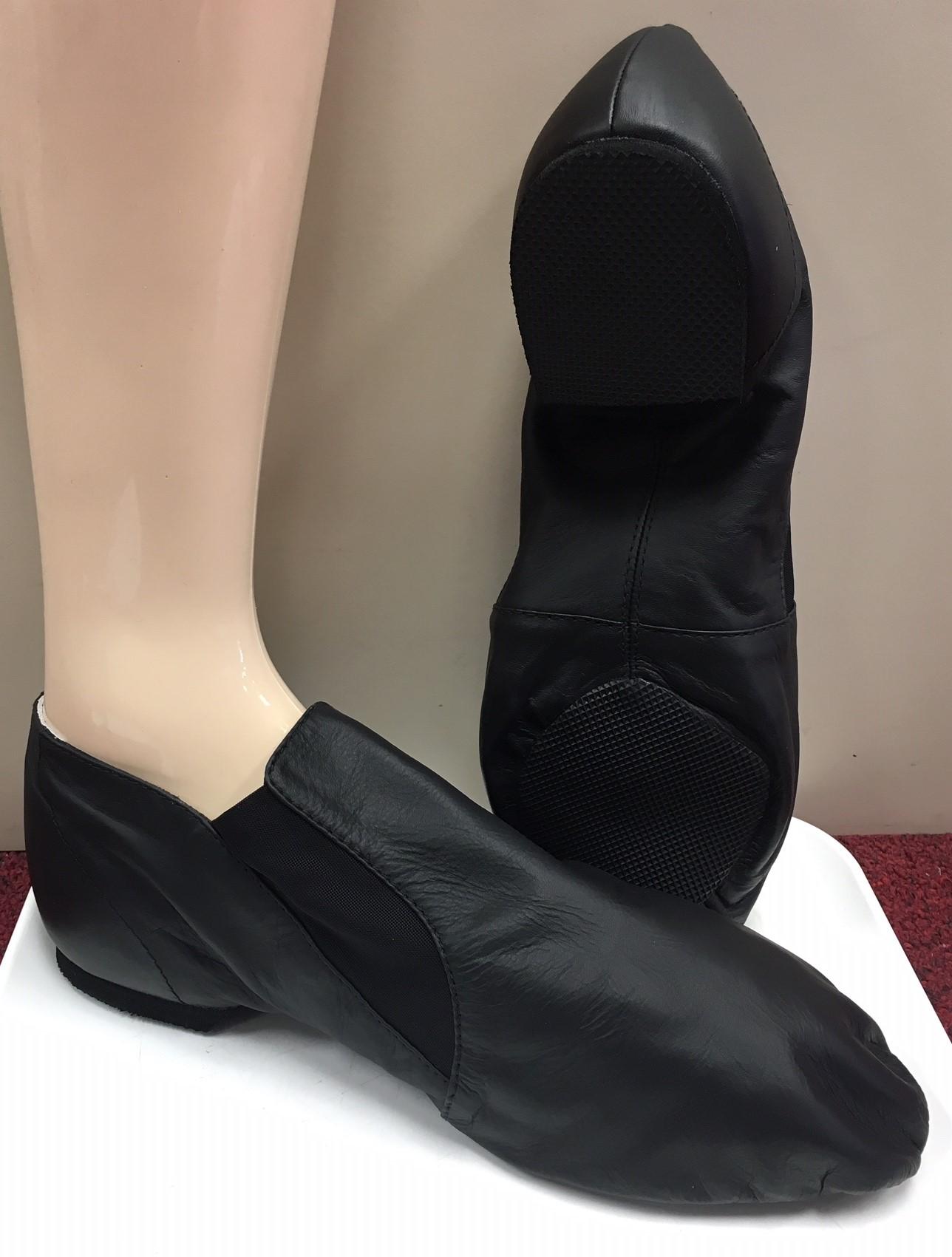 """Bloch Men's Slip on """"Elasta Bootie"""" Leather Upper Split Rubber Sole Jazz Shoe"""