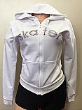 Tia's Women's Long Sleeve Hoodie Top with Pockets and Skate Logo